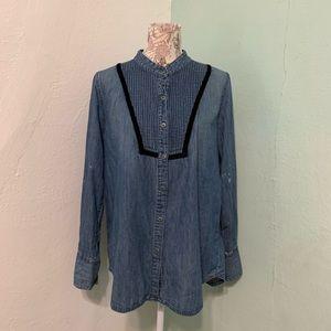 Free People Chambray Pin tuck Bib Splatter Shirt L